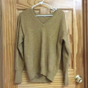 Mustard cashmere v neck sweater